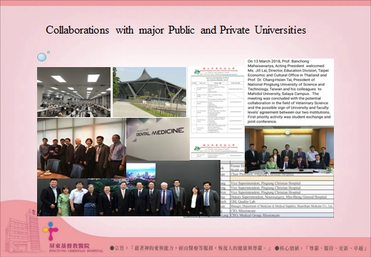 Collaborations with major Public and Private Unviersities