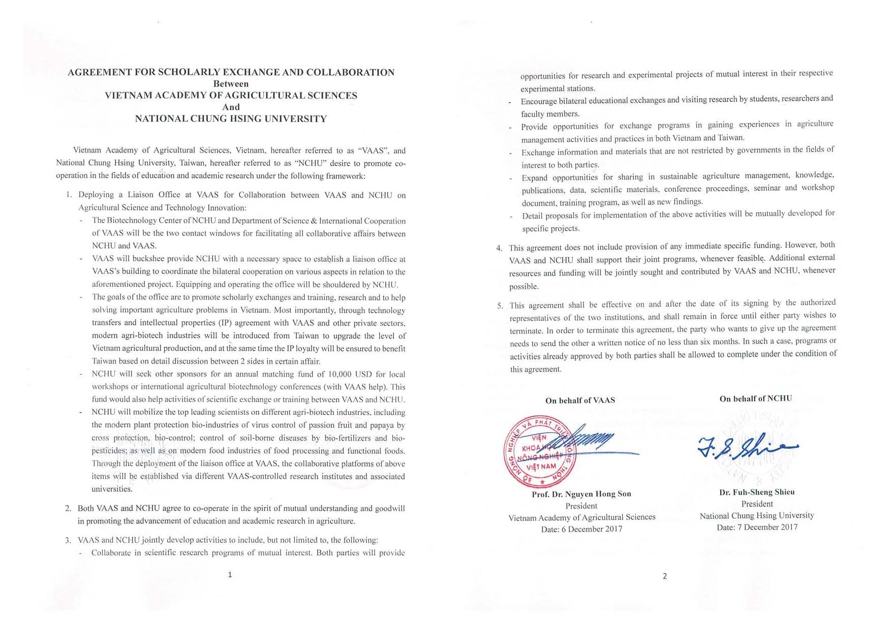 Agreement for Scholarly Exchange and Collaboration