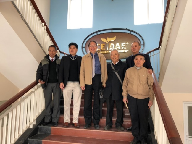 Photo taken with Deputy Director of VAAS, Dr. Thanh (second from left), Director of Department of Science & International Cooperation, Dr. Dang (first from left), and Director of CTDAE, Dr. Dan (second from right).