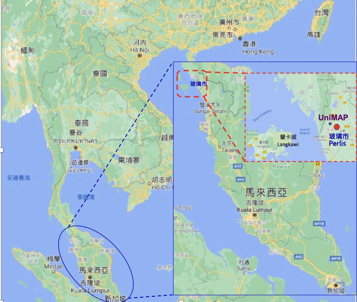 馬來西亞與玻璃市州的地理位置圖