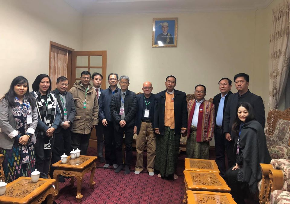 Group photo of NCNU Dean Prof. Chen, UMFCCI Vice President Dr. Myo Thet, Chin State Chief Minister H. E. Salai Lian Luai and other government officials.