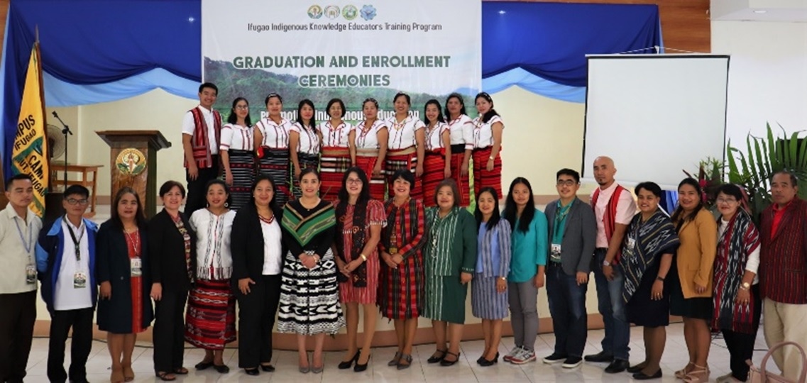 "Group photo of the 10 graduating teachers and the participants of the 1st Graduation Ceremony of  ""the Ifugao Indigenous Knowledge Educators Training Program"""