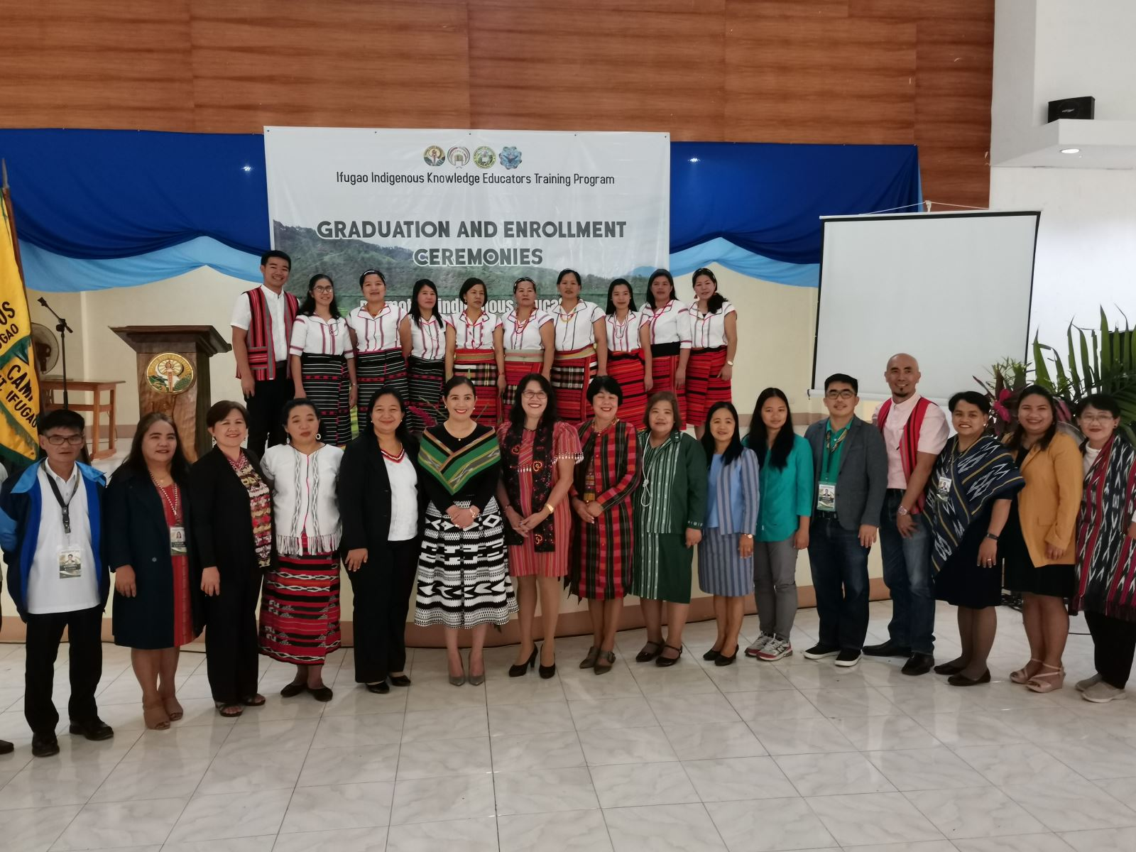 Group photo of the 10 graduating teachers and the participants of the 1st Graduation Ceremony of  _the Ifugao Indigenous Knowledge Educators Training Program