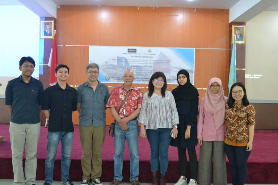 Speakers for the sharing session and general lecture (Gian, Michael Vica, Mr. Eric, Prof Bien Chiang, Miss Jean Cheng, Dania, Rizka, and Janice)
